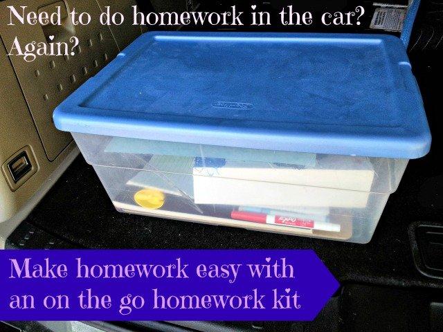 An on the go homework kit for the car