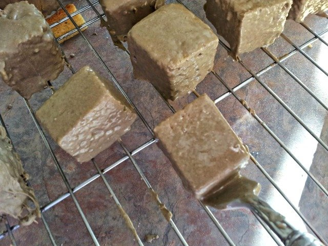 Use the fork to carefully place chocolate squares onto cooling rack