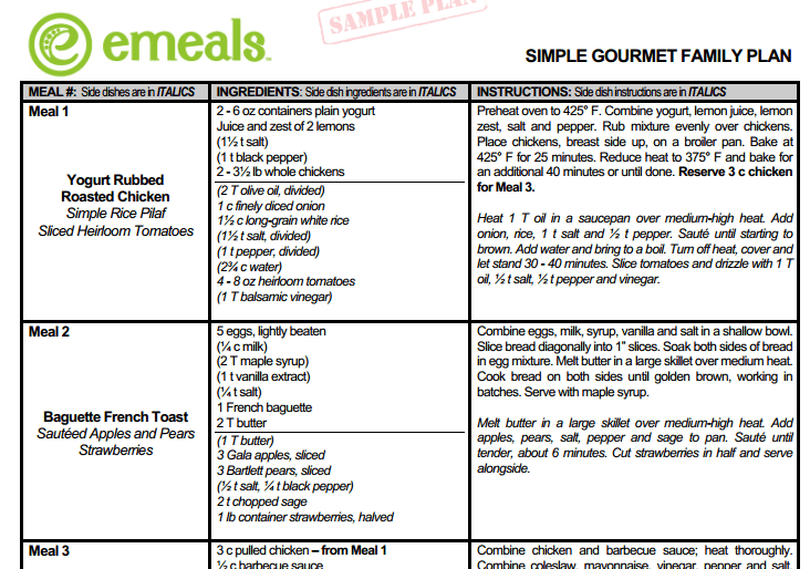 eMeals Makes My Meal Planning Easier Honest And Truly – Sample Meal Planning