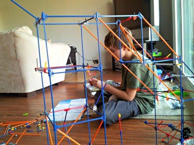 Mister Man building the K'NEX roller coaster