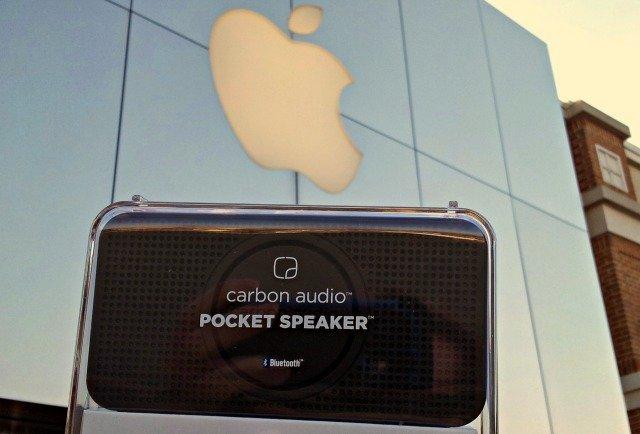 Carbon Audio pocket speaker with apple store logo