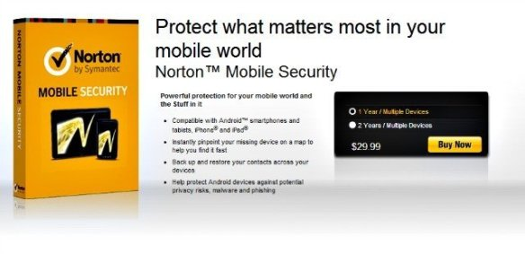 Screenshot of Norton Mobile Security product offering