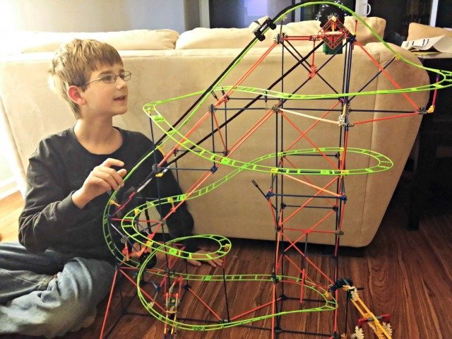 Enjoying the K'NEX Typhoon roller coaster