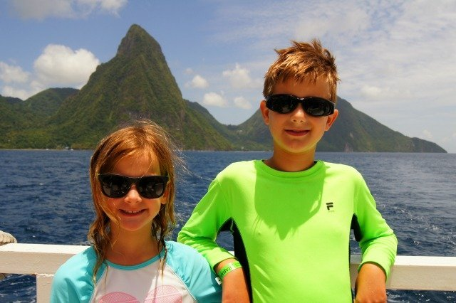Wee ones on a boat in St Lucia