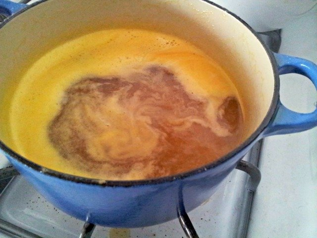 Orange caramel sauce needs to boil one last time after adding the juice to reduce a bit