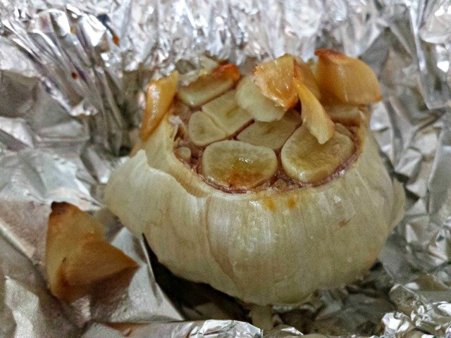 Bulb of roasted garlic