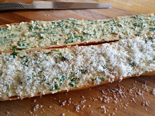 Garlic bread prepped for baking