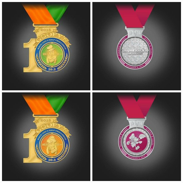Run Disney medals for 2014 Wine and Dine half marathon and 2015 Goofy Race and a Half Challenge