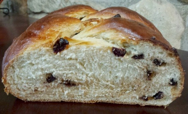 Slice into a gorgeous loaf of chocolate cherry challah