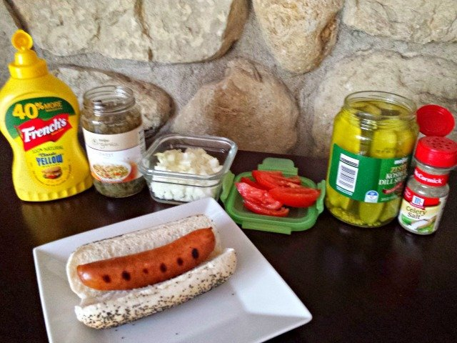Ingredients for traditional Chicago dog #shop