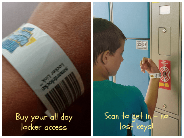 Automatic locker access with wristbands at Raging Waves