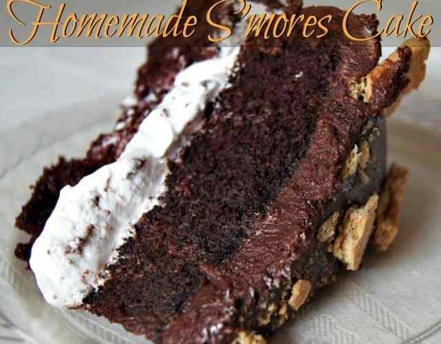 Gorgeous and easy homemade s'mores cake
