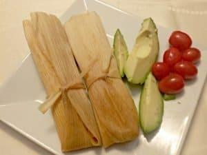 Homemade chicken tamales