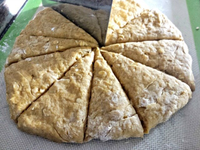 Use a board scraper to cut your scones