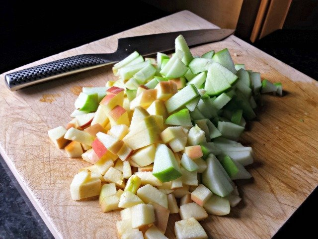 Diced apples for cinnamon apple topping