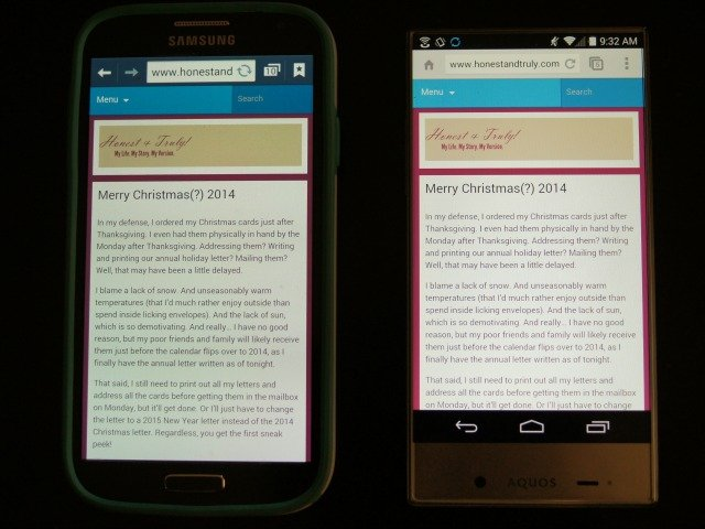 Comparing Sharp AQUOS to Samsung Galaxy screens
