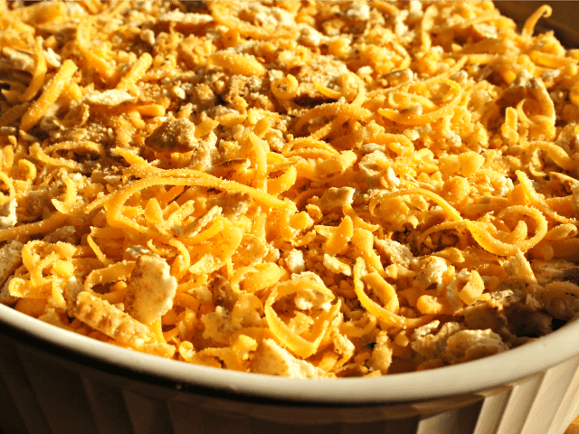 Closeup of corn casserole