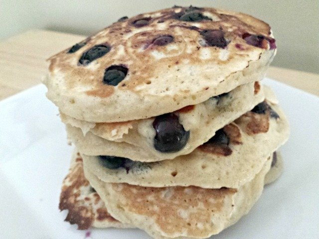 Blueberry pancakes ready to eat