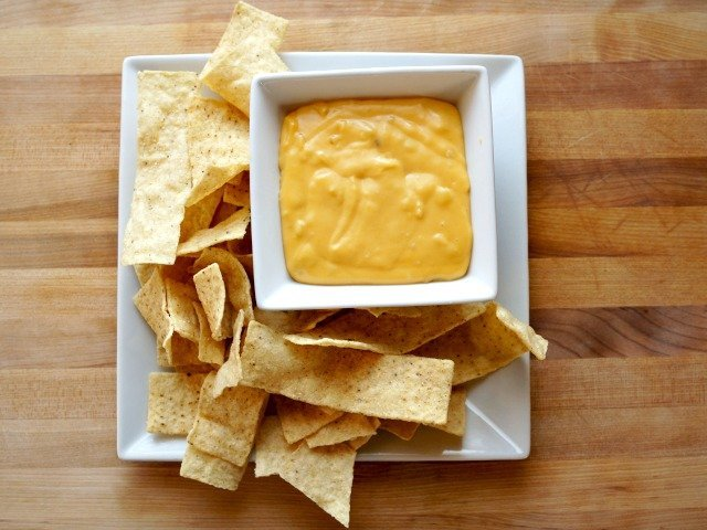 Homemade nacho cheese plate