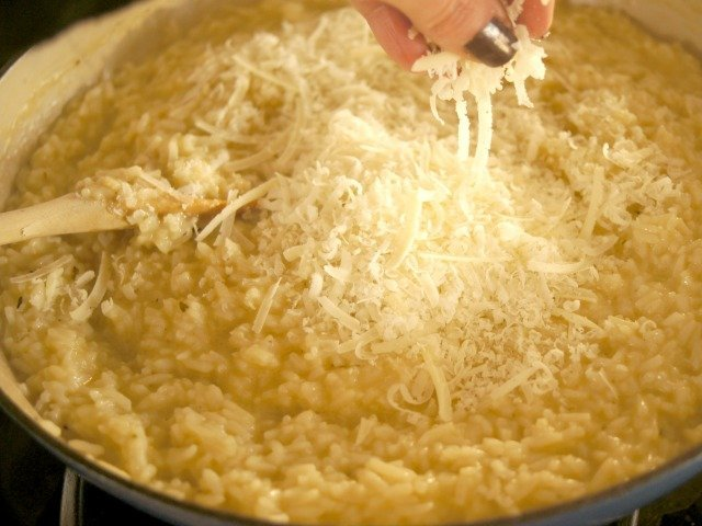 Adding Parmesan to Risotto