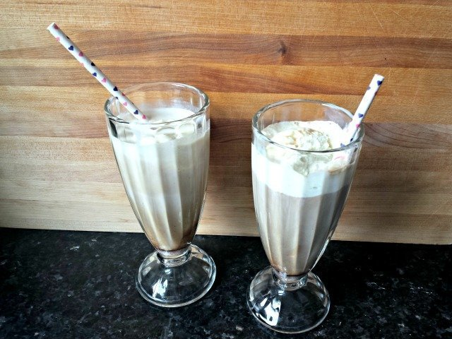 Your iced coffee floats ready to eat - recipe for the float and homemade spiced creamer included