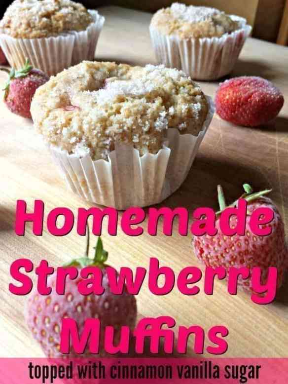Homemade strawberry muffins recipe with fresh strawberries and a vanilla cinnamon sugar topping