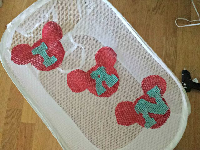 Lay out pattern on hamper for personalized Disney gift
