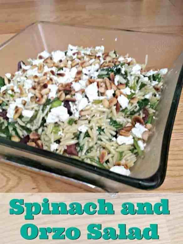 Spinach and Orzo Salad recipe for summer bbq or winter dinners. Twenty minutes start to finish and full of flavor