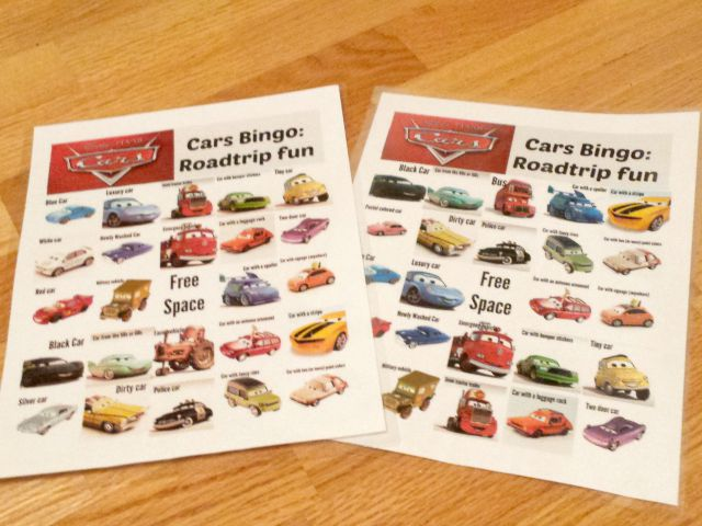 Fun Cars Movie Bingo Cards printable
