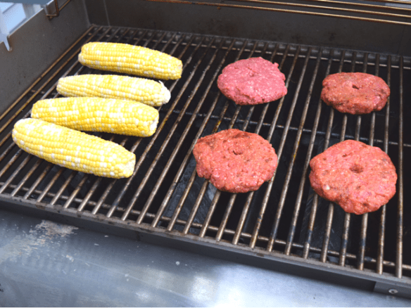 Grilling chipotle burgers and corn