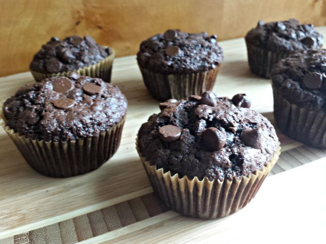 Some dairy free chocolate chip muffins ready to eat