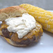 Yummy chipotle burger with gorgeous grilled corn