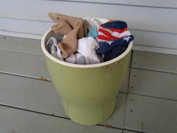 Basket of unmatched socks