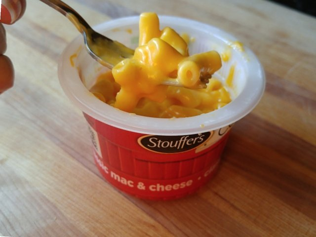 Easy dinner with Stouffer's mac and cheese cups