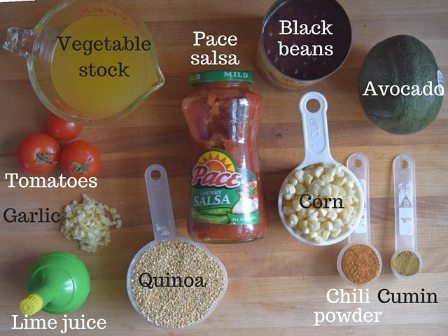 Ingredients for Mexican skillet quinoa