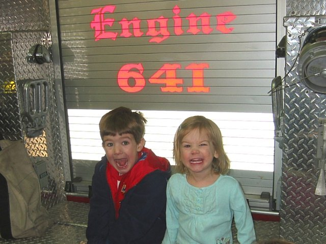 Kids at a fire open house
