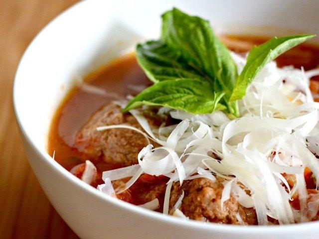 Enjoy a bowl of Italian meatball soup
