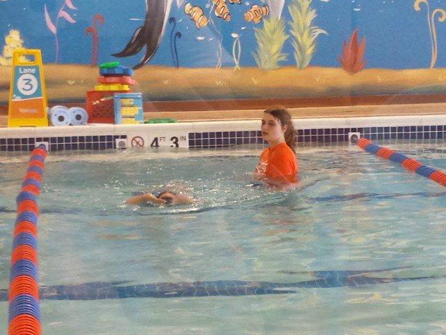 Enjoying swim lessons at Goldfish swim school