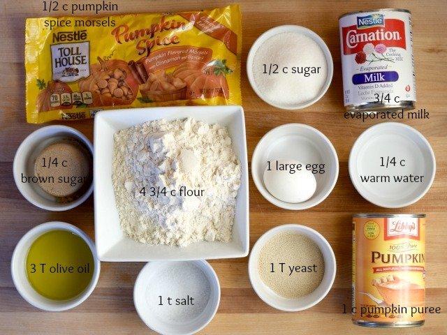 Ingredients for pumpkin cinnamon roll dough