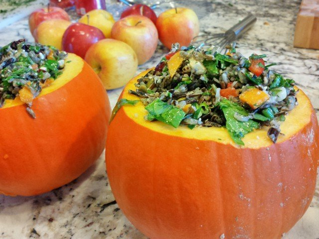 Serve harvest quinoa salad in a pumpkin