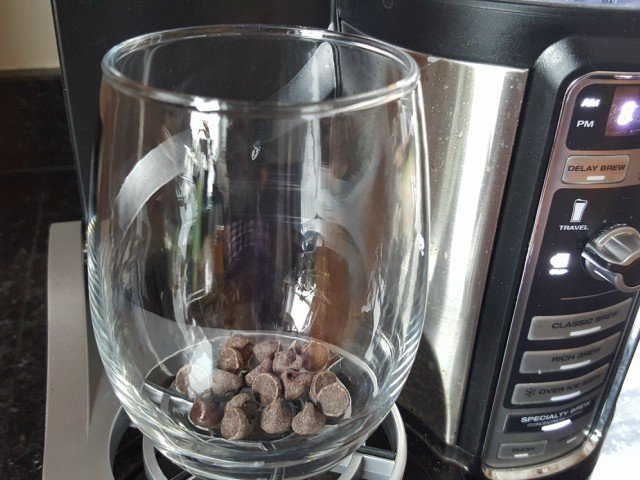 Add chocolate chips to cup before brewing coffee