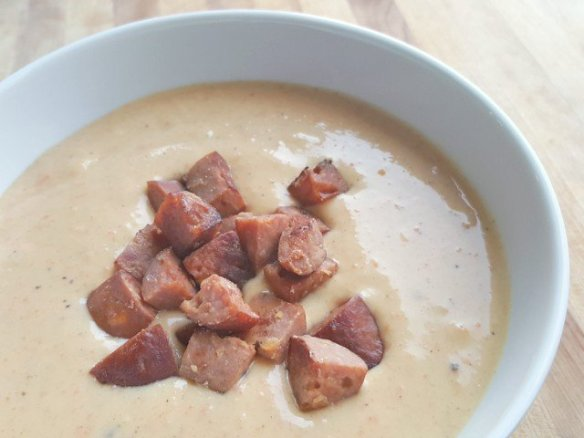 Cheese and sausage soup closeup