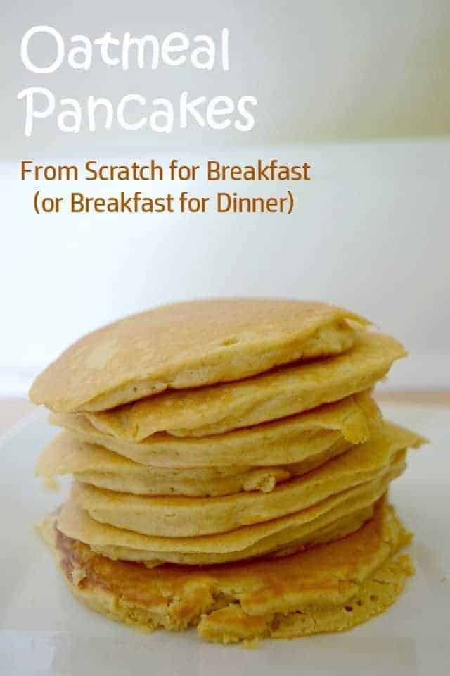 Oatmeal Pancakes - cook up this recipe for breakfast or breakfast for dinner. It's delicious and healthy, even without syrup. This is made quickly and tastes great for a kid-friendly brunch. The recipe includes modifications to make it dairy free and vegan. Delicious!