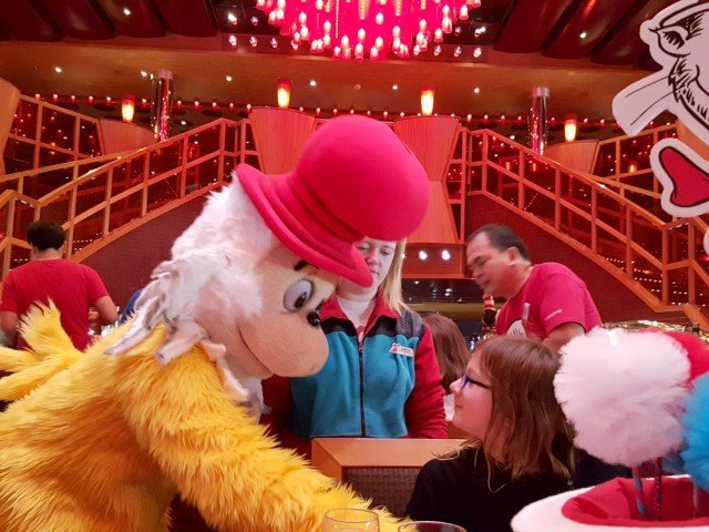 Carnival cruise character green eggs and ham breakfast with Dr Seuss