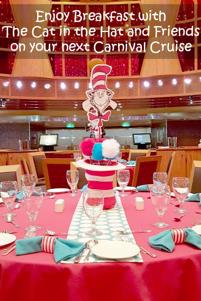 Enjoy the Cat in the Hat at Carnival Cruise's Green Eggs and Ham Breakfast. Have brunch with Suess at Sea when you sail on vacation. Fun for kids and adults with delicious menu choices.