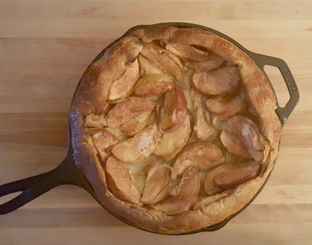 Enjoy your own homemade apple pancake in a cast iron skillet