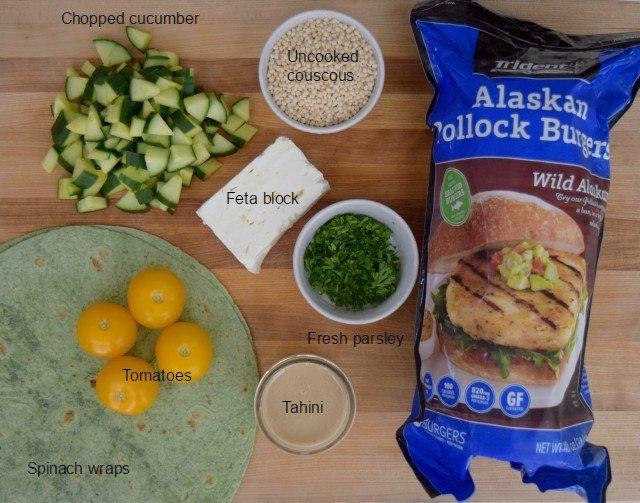Ingredients for Mediterranean wraps