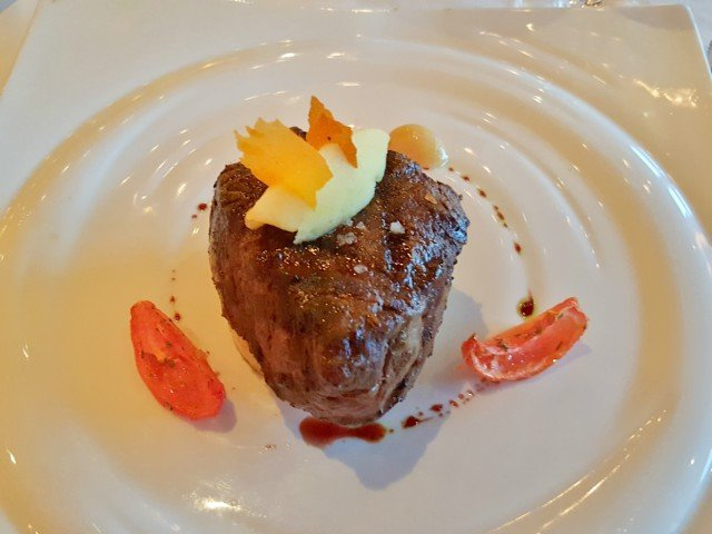 Broiled Filet Mignon at Carnival Steakhouse dinner
