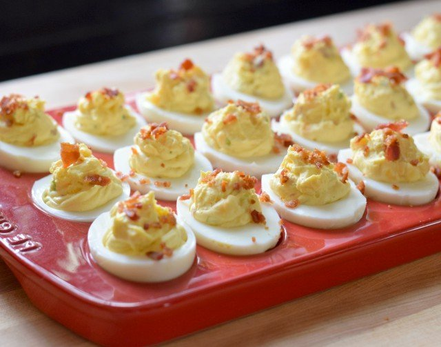 Delicious bacon deviled eggs ready for a party