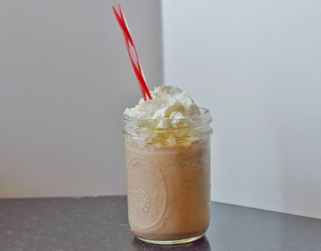 Enjoy a frozen chocolate chip frappaccino for breakfast